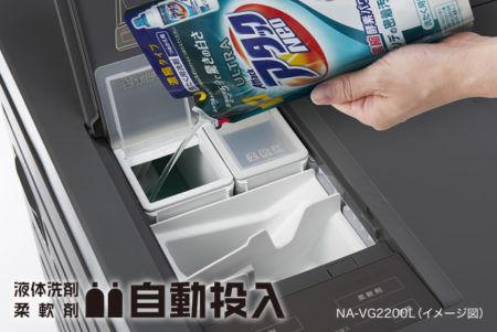 洗剤、柔軟剤を自動投入
