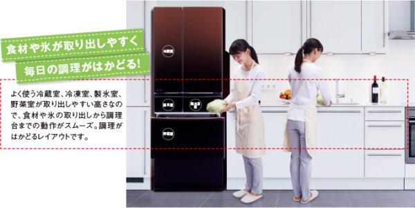 三菱の冷蔵庫 野菜室真ん中